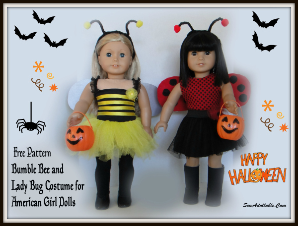Free Pattern - Lady bug and Bumble Bee Costume for AG dolls