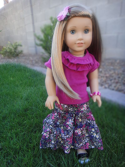 No Pattern Maxi Skirt For American Girl Dolls Sew Adollable